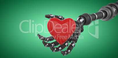 Composite image of three dimensional image of robot hand holding red heard shape 3d