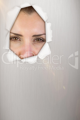 Composite image of portrait of beautiful woman making face 3d