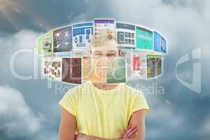 Composite image of smiling crestive business man 3d
