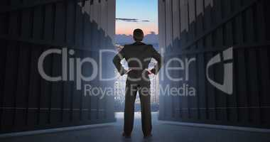 Composite image of businessman standing back to the camera with hands on hip  3d