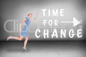 Composite image of  businesswoman running in a hurry