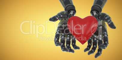Composite image of three dimensional image of robot holding heart shape decoration 3d