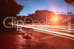 Light trails on city street