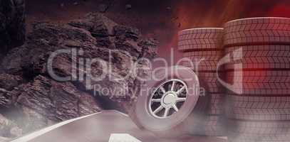 Composite image of rows of tyres 3d