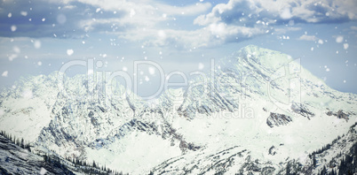 Scenic view of snowy mountains
