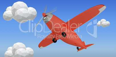 Composite image of red plane 3d