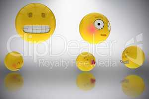 Composite image of three dimensional image of various smileys faces reactions 3d