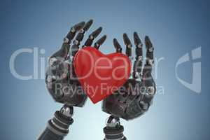 Composite image of three dimensional image of cyborg holding heart shape decoration 3d