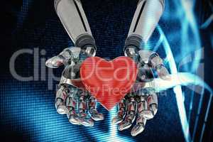 Composite image of three dimensional image of robot holding red heard shape 3d
