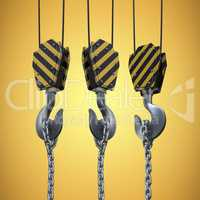 Composite image of studio shoot of a crane lifting hook