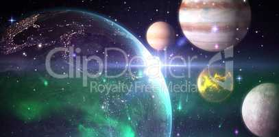 Composite image of graphic image of solar system
