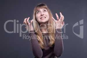 Irritated blond teenage girl