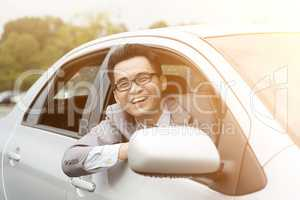 Happy driver smiling