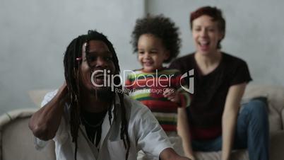Loving mixed race family enjoying time together