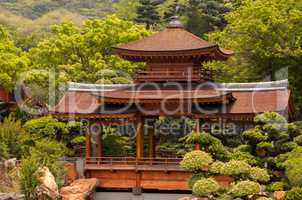 Wooden Pavilion in a Chinese Park