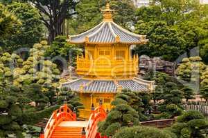 Golden Pavilion in the City Park of Hong Kong