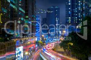 Night Traffic on the Street of Hong Kong City
