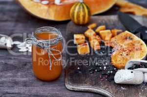 Freshly made pumpkin juice in a glass jar