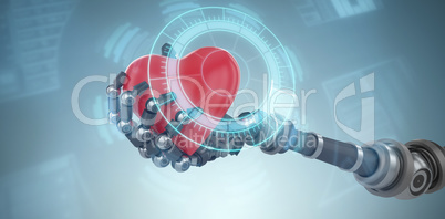 Composite image of three dimensional image of robot hand holding red heard decoration 3d