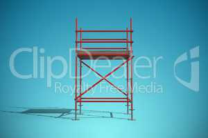 Composite image of three dimension image of red scaffold frame