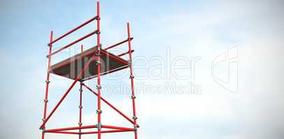 Composite image of three dimensional image of red scaffolding 3d