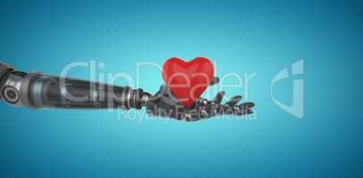 Composite image of three dimensional image of cyborg holding red heart shape decor 3d