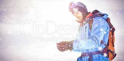 Skier wearing hand gloves