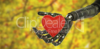 Composite image of three dimensional image of cyborg showing red heart shape 3d