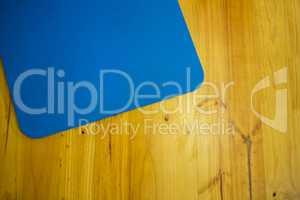 Exercise mat kept on wooden floor