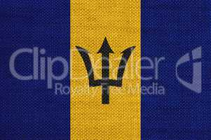 Fahne von Barbados auf altem Leinen