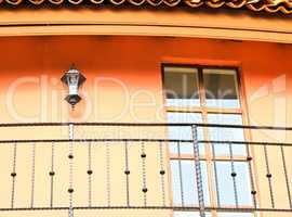 architecture detail with lamp and window