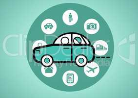car illustration icon in circle against green background with travel icons