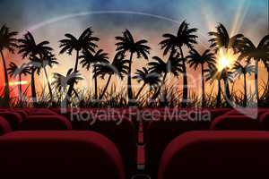 3d composition of cinema seats facing sunset view with palms
