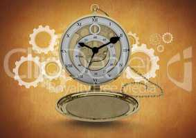 Pocket watch clock against brown background with cog wheel illustrations