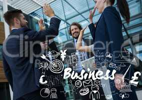 Business group high fiving with white business doodles