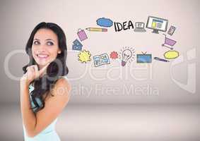 woman with ideas business graphics drawings