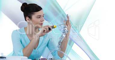Woman with electronics against white background with blue and purple texture