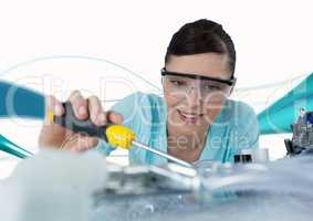 Woman with electronics against blue and white background with waves