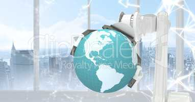 White robot claw with globe against white interface against window and skyline