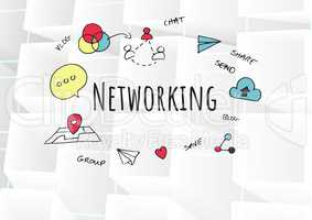 Networking text with drawings graphics