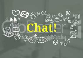 Chat text with drawings graphics