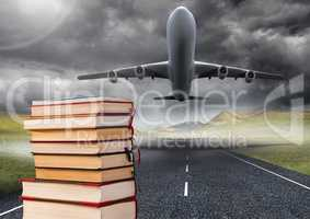 Books stacked by plane take off runway