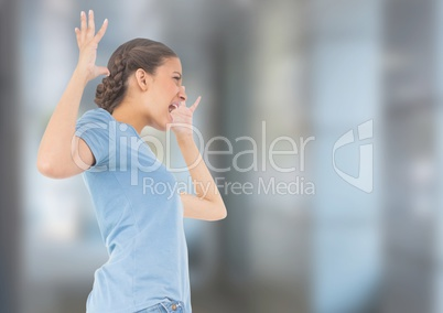 Stressed woman against blurred background