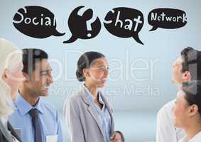 Business people with social media chat networking speech bubbles drawings