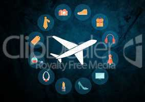 Plane icon against blue grunge background with travel shopping icons