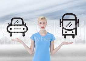 Woman choosing or deciding with open palm hands car or bus icon or public transport