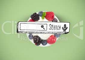 Search bar drawing on pudding of berries fruit with cream on plate against green background