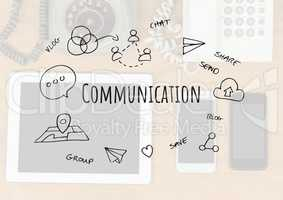 Communication text with drawings graphics