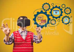 Child with Virtual reality headset touching education icons gears learning graphics drawings