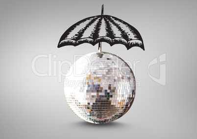Disco ball with umbrella drawings against grey background